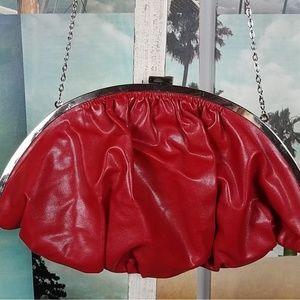 EUC Vintage 1980's RED faux leather half moon bag